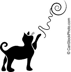 Playing cat silhouette isolated on white background
