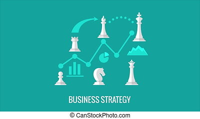Playing chess. Business strategy concept animation. Chess...