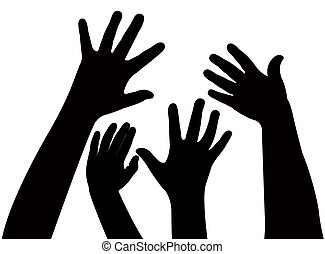playing children hands silhouette,
