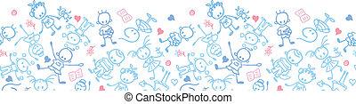 Playing children horizontal seamless pattern border