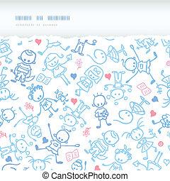 Playing children horizontal torn seamless pattern background