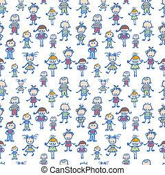 Playing children seamless pattern background