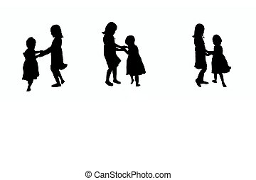 playing children silhouette