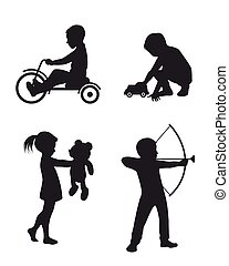 Playing children silhouettes
