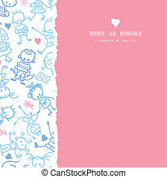 Playing children square torn seamless pattern background