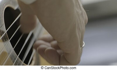 Playing classical guitar. Right hand