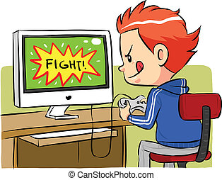 A boy playing computer games using joystick controller. Vector EPS8 file.