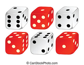 Playing cubes. - Playing cubes of white and red color on a...