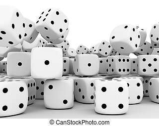 Playing cube\'s - Large group cube\'s of fortune on white...