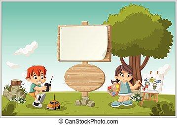 playing., dessin animé, enfants