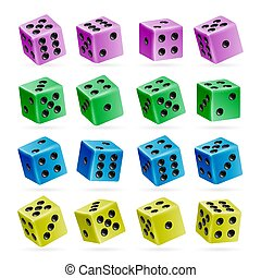 Playing Dice Vector Set. 3d Realistic Cubes With Dot Numbers. Good For Playing Board Casino Game. Isolated On White. Set Of Dice Rolls