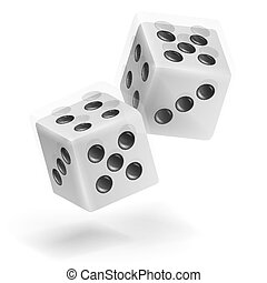 Playing Dice Vector Set. Realistic 3D Illustration Of Two White Dice With Shadow. Game Dice Set