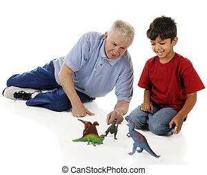 Playing Dinosaur with Grandpa