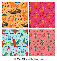 Playing dog cat parrot character funny purebred puppy comic happy mammal breed animal character seamless pattern background vector illustration.