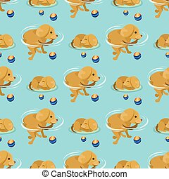 Playing dog character funny purebred puppy comic happy mammal breed animal character seamless pattern background vector illustration.