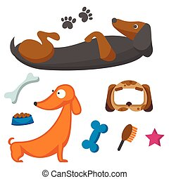 Playing dog character funny purebred puppy comic happy mammal breed animal character vector illustration.