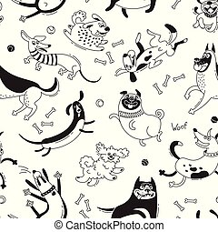 Playing dogs seamless pattern. Funny lap-dog, happy pug, mongrels and other breeds. Vector background for design