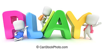 Playing - 3D Illustration of Kids Posing with the Word Play