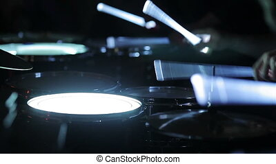 Playing drums with neon drumsticks - Playing glowing drums...