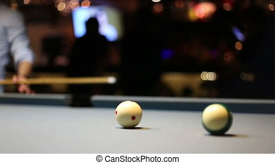 Playing Eight-ball pool billiards in a bar - A video of...