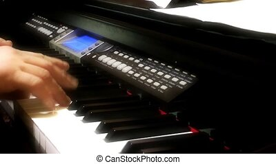 Playing Electronic Piano Male Hand