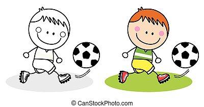 playing football boy