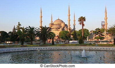 Playing fountain at Sultanahmet Square, Instanbul -...