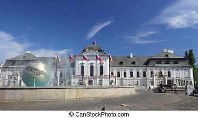 Playing fountain near Presidential Palace in Bratislava,...
