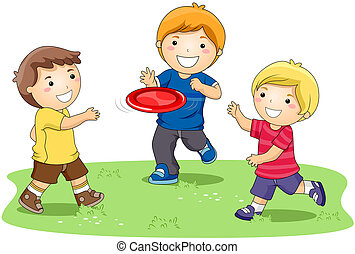 Playing Frisbee - Children playing Frisbee in the Park with...