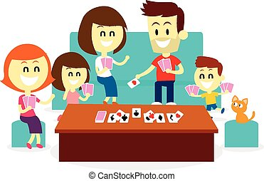 Playing Fun Card Games with Family - A Family enjoying...