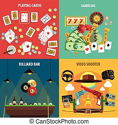 Playing Games Banners Set - Playing games square banners set...