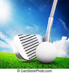 Playing golf. Ball on tee, a golf club