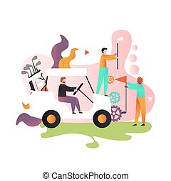 Playing golf vector concept for web banner, website page