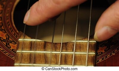 playing guitar - playing guitar, classical technique with...