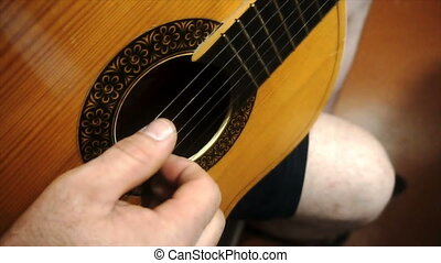 playing guitar solo slow motion.