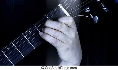 playing guitar, strum and rays lights.