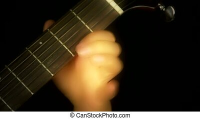 playing guitar, strum.