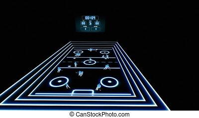 Human figures playing hockey