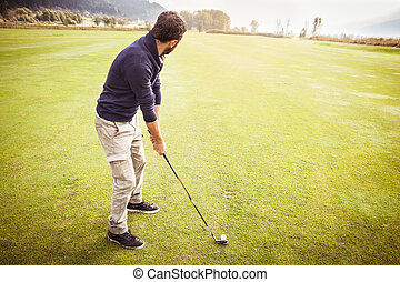 Playing in a Big golf course