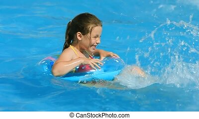 Playing In a Pool - Little girl having fun in the swimming...