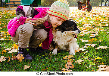playing in autumn park