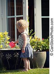 Playing in garden