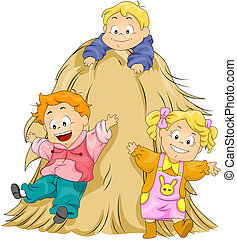 Playing in the Haystack - Children Playing in the Haystack...