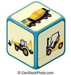 Playing isometric dice with costruction machinery, mix-truck, bagger, excavator, forklift.
