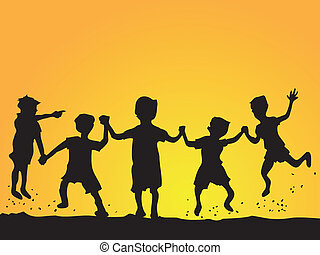 playing kids silhouette - a group of happy kids playing at...