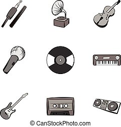 Playing melody icons set, gray monochrome style