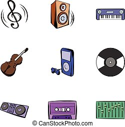 Playing music icons set, cartoon style