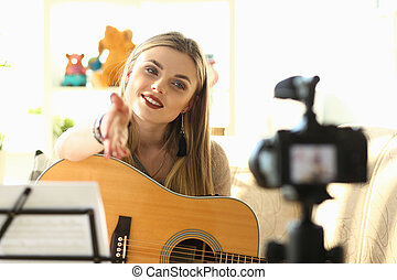 Playing Music Lessons Recording for Social Network
