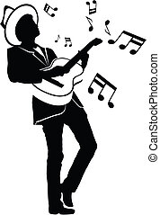 Playing Music - Silhouette of a man playing guitar