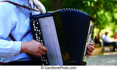 Playing musical national Ukrainian instruments.